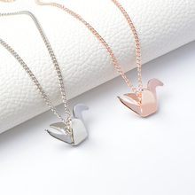 Hot Simple Origami Duck Bird Pendant Necklace Suspend Creative Minimalist Animal Childlike Rose Gold Silver 3D Jewelry