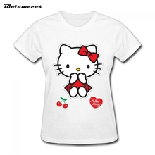 2017 Summer Style Ladies Sasual Short Sleeve Womens T-shirt Comfortable O-neck T Shirt Printed Hello Kitty Image WTM020