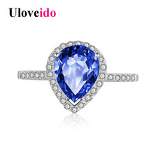 Uloveido 40% Off 925 Sterling Silver Ring Female Wedding Jewelry Blue Water Drop Rings for Women Zircon with Box Titanium JZ116
