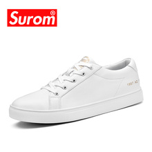 SUROM Men's Autumn Winter Sneakers Fashion Board Shoes Super Fiber Leather Krasovki White Color Brand Casual Shoes Laces Flats(China)