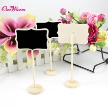 6Pcs/lot Vintage Mini Wood Chalkboard Blackboard Wooden Place Card Holder Table Number for Wedding Event Party Valentine Day(China)