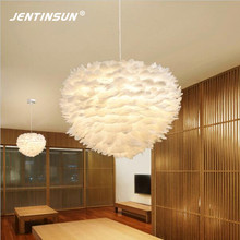 Creative Nest White Feather Pendant Lights Modern Warm LED Lighting Hanglamp for Baby Room Wedding Living Room Suspended Lamp