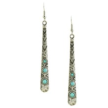 New fashion jewelry vintage jewelry silver antique plated blue stone bar dangle earring  gift for women girl wholesale E3170