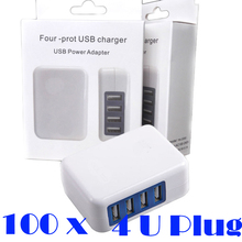 100pcs 15W 4 Ports USB Wall Charger 3.1A AC Power Adapter Folding Plug Portable Travel Chargers for iPhone Samsung in Retail Box(China)