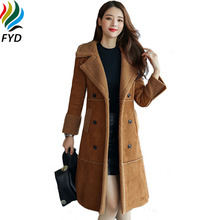 Winter Women Warm Coats New 2017 Thicken Faux Suede Leather Jackets Plus Size Loose Coat Medium Long Faux Lambs Wool Coat M-3XL()