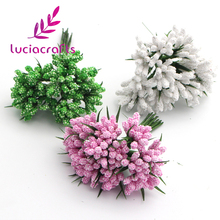 Lucia Crafts Foam Flower bud with wire stem DIY craft artificial flowers Chistmas Party Decoration24pcs 027005006