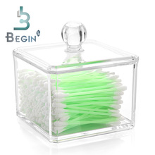 Clear Acrylic Q-tip Holder Box Cosmetic Makeup Cotton & Pad Box Nail Remover Paper Wipe & Jewelry Cases For Home Hotel Office