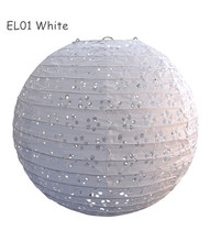 "5pcs/lot 12""=30cm White Round Lace Look Eyelet Paper Lantern Wedding Party Event Lighting Decorations"