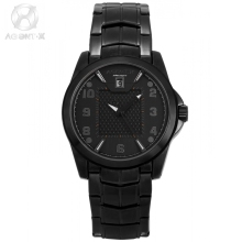 AGENTX Luxury Mens Watch Full Black Date Function Watches Relogio Masculino Matel Strap Waterproof Quartz Wristwatches /AGX140