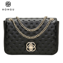 HONGU Chain Crossbody Bags Female Small Square Flap Split Leather Handbags Designer Luxury Messenger Bags for Women Side Purse