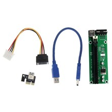 Useful And High Quality USB PCI-E Express Extender 1x to 16x Riser Card Adapter Power Cable(China)