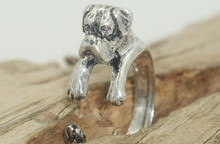 Min 1pc  Fashion Animal Wrap Boxer Ring Silver Boxer Jewelry Adjustable Best Bijoux for Men Women Teens Gift