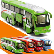 New 1/55 Sacle Diecast Metal Alloy Shuttle Bus Model With Openable Doors Music Light Pull Back Function For Boys Toys Gift(China)