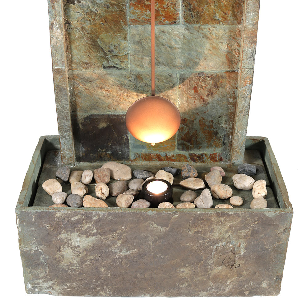 Sunnydaze Slate Indoor/Outdoor Water Fountain with Clock and LED Spot Light, 49 Inch Tall (3)