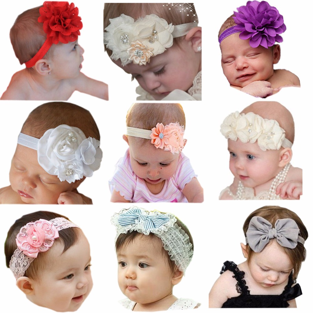 9 pcs/lot Beautiful Kids Hair Bows Newborn headband child girl accessories child girl headbands A341(China)