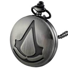 Vintage Assassin's Creed Pocket Watch Game Theme Necklace Fob Pendant assasin keychain tz#12