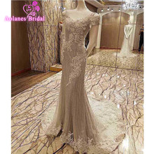 Luxury Grey Long Sequin Mermaid Evening Dress Scalloped Neck Evening Gowns Short Sleeves Prom Party Formal Dresses 2017 New(China)