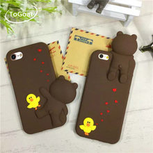 ToGoat New Cute 3D Cartoon Love Toy Yellow Chicken Sally Brown Bear LINE Soft Silicon Funda Phone Cases Cover For iPhone 6 6S 6