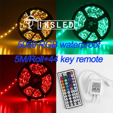 waterproof led strip light 5050 smd 300led 5M RGB led rope +44key IR remote controller free shipping(China)