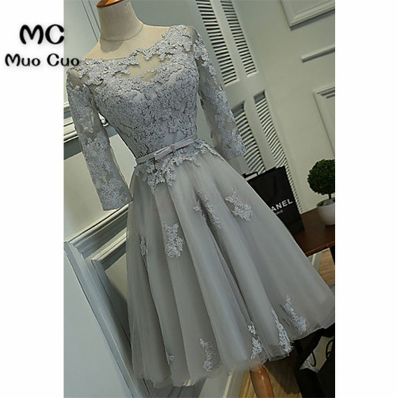 Scoop Knee-length Lace Tulle Ribbon Short Prom Cocktail Homecoming Dresses