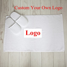 Custom Logo Star Hotel White Mat Towel 100% Cotton Size 50x80cm Custom Your Own Brand Bath Towel Adult Home Hotel SPA Center Use