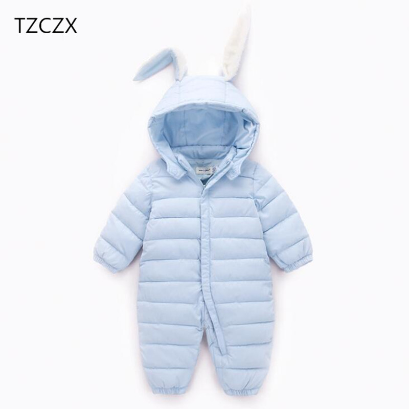 TZCZX 1pcs New Children Baby Boys Girls Rompers Solid Rabbit Ear Hooded Cotton Jumpsuit For 6 Month to 2 Years Old Kids Wear <br>