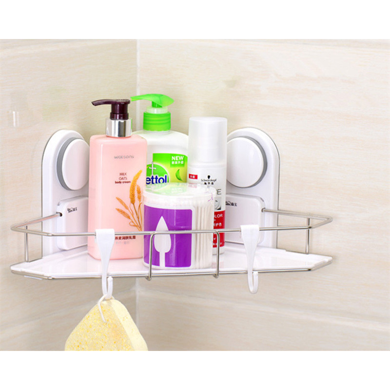suction bathroom shelf new unique plastic and stainless steel single tier bathroom corner shelves with two