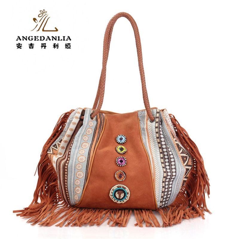 vintage canvas and PU leather duffle handbag Bohemian telas hippies shoulder bag tassels national embroidery ethnic shoulder bag<br>