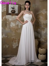 Buy Real Ivory Strapless Beaded Chiffon Beach Wedding Dresses Informal Reception Gowns Bridal Gowns Robe De Mariee Custom Made 2017 for $123.57 in AliExpress store