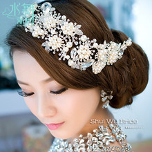 imported alloy plated pearl crystal bridal headdress tiara wedding hair accessories hair jewelry for brides(China)
