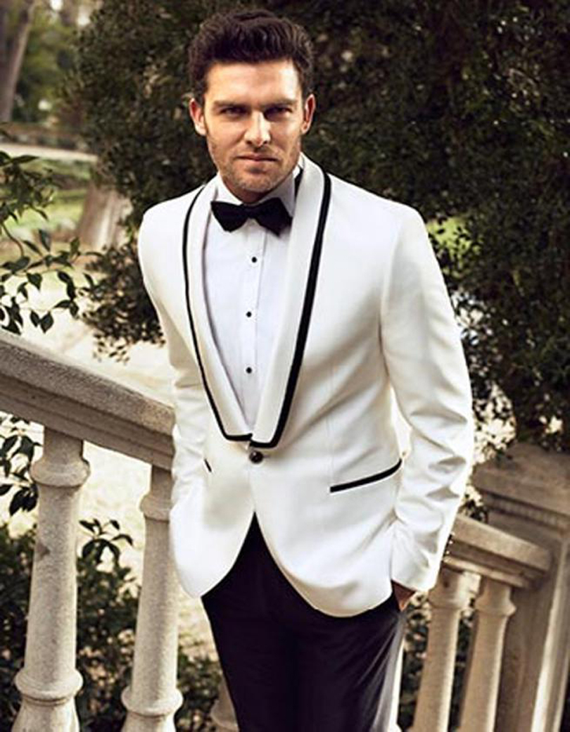 Latest Coat Pant Designs White And Black Groom Tuxedos Mens Wedding Suits Custom Made Groomsman Bridegroom Suit(Jacket+Pants)