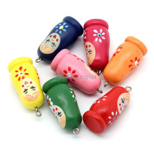 100Pcs Mixed Wood Charm Pendants Wooden Russian Doll Pattern Jewelry Component 3.5cmx1.6cm