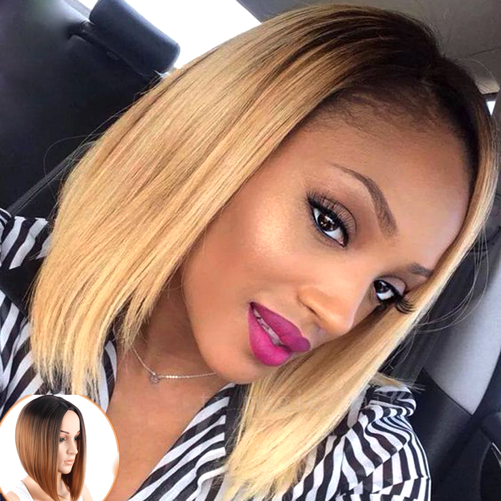 Short Cut Blond Bob Wig Short Female Synthetic Wigs For Black Women Naturally Short Hair Wig Blonde Ombre Cheap Wigs For Girl<br><br>Aliexpress