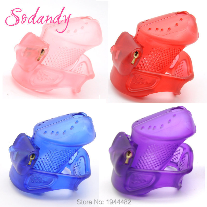 SODANDY 2018 Male Chastity Devices Mens Cock Cage Plastic Penis Locking Bondage Penisring Chastity Belt 3 Cock Ring Sex Toy