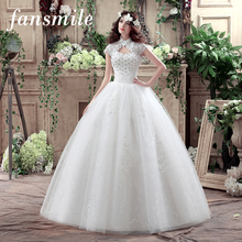 Fansmile Short Sleeve High Collar Lace Up Wedding Dresses 2017 Real Photo Vintage Plus Size Ball Gowns Under 100 Free Shipping