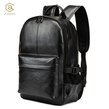 AHRI NEW Pretty Style PU Leather Men Black 15 inches Backpack Fashion Male Casual Boys School Shoulder bags for Men's Backpack