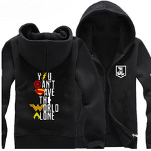 2018 High quality New Justice League Hoodie Anime The Flash Coat Jacket you can't save the world Winter Men Zipper Sweatshirt(China)