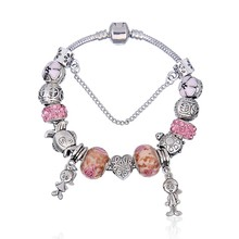 New European Antique  Pink Rhinestone Charms Handmade Bracelet fit P Bracelets & Bangles For Women