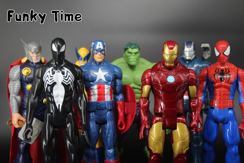30cm Marvel Hero The Avengers Superheroes PVC Action Figures Toys Iron Man Thor Hulk Wolverine spiderman Captain America(China (Mainland))