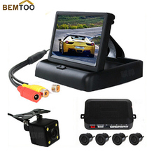 BEMTOO 4.3 inch Video Parking sensor with HD CCD rear view Camera, with parking sensor system reverse back up parking radar