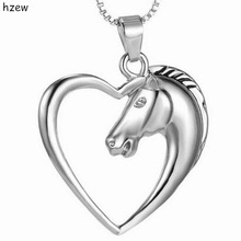 hzew Christmas Birthday Gift Hollow Heart Horse Pendant Necklaces Silver color Horse in Heart Necklace(China)