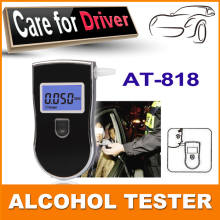 Police Alcohol Breath Analyzer Tester Breathalyzer AT818 with 3 digital LCD display & blue backlight & 5pcs Mouthpieces