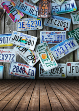 Art Fabric Photography License Plate Backdrop Wood Floor Custom Photo Prop backgrounds 5ftX7ft D-2190(China)