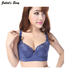 Juliet's Sexy Soft Women Plus Size Bra Bamboo Fiber Lace Floral Embroidery High Quality Women Underwear Bra DE Cup Push Up