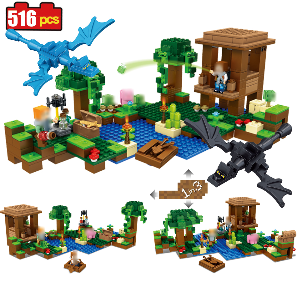 516pcs Minecrafted Witch Hut building Blocks Compatible Legoed Minecrafted city Enlighten figures bricks classic children Toys<br>
