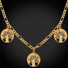 Life Tree Charm Necklace For Men/Women Gold/Silver Color Figaro Chain Necklace With Pendant Wholesale N280(China)