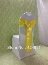 100pcs Hot Sale Yellow Satin Chair Sash For Weddings Events &Party Decoration(China)