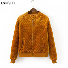 LXMSTH Autumn Long Sleeve Velvet jacket Women 2017 Zipper Bomber jacket For Lady Loose Casual Winter Short Coat Woman Black(China)