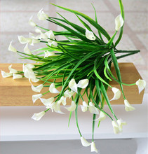 25 heads/bouquet mini artificial calla leaf silk fake flower lily plastic Aquatic plants home decoration(China)