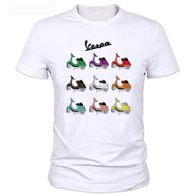 New Summer white casual Car Styling funny t-shirt hip hop Vespa Printed TShirt Men Short Sleeve Tee shirt